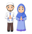cartoon muslim man and woman couple vector image vector image