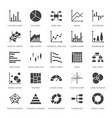 chart types flat glyph icons line graph column vector image