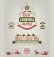 christmas emblem of green and red hues vector image vector image