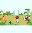 city park with people recreations in summer vector image vector image