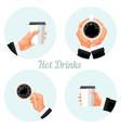 coffee time stickers set takeaway hot beverage vector image