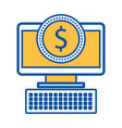 computer money dollar coin payment online vector image