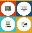 flat icon laptop set of computer mouse display vector image vector image