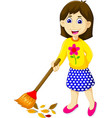 funny mother cartoon sweeping vector image vector image