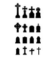graveyard icons set on white background vector image