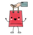 hand holding a trapezoid kawaii animated shopping vector image vector image