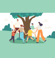 happy family characters dance around tree mother vector image vector image