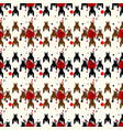 hounds-tooth seamless patternwit red flower vector image vector image