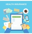 Man at the table fills in form of health insurance vector image vector image