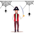 man wearing pirate costume holding sword spider vector image vector image