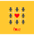 Man Woman icon Tic tac toe game Red heart sign vector image vector image