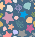 Marine seamless pattern Colored silhouettes of vector image