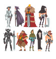 medieval historical cartoon characters vector image vector image