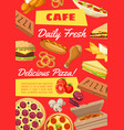 menu template in fastfood cafe snack poster vector image vector image