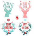 merry christmas with deer heads and antlers vector image