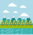 mountain ridge with forest and water image vector image