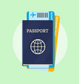 passport and airline boarding pass tickets vector image vector image