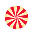 peppermint cream candy spiral red and yellow vector image vector image