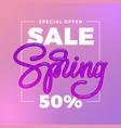pink spring sale banner 50 off on violet vector image