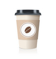 realistic take away paper coffee cup vector image vector image