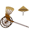 Rickshaw and hat vector image