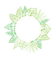 round frame with tropical leaves template for vector image