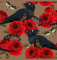 seamless pattern with raven hawk moths and roses vector image