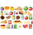 set many food vector image vector image