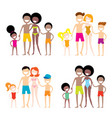 set of 4 portraits of lovely cartoon family vector image vector image
