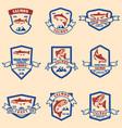 set salmon and trout emblems design element vector image vector image