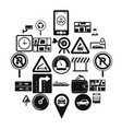traffic icons set simple style vector image