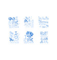 Triathlon club logo set i love sport retro hand