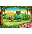 Two kids at the forest watching the mountains vector image vector image