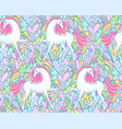 white unicorns pattern vector image
