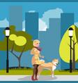 Young woman walking a dog