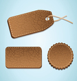 set of leather labels - vector image