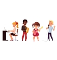 Other children play musical instruments and sing vector image