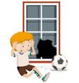 a boy break window with football vector image
