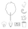 amusement park outline icons in set collection for vector image vector image