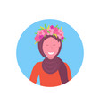 arab woman face avatar girl in wreath of flowers vector image