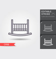 babedcrib line icon with editable stroke with vector image vector image