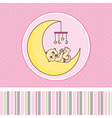 Baby girl birth announcement card vector image vector image