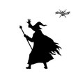 black silhouette wizard with hat and staff vector image vector image