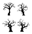 black trees silhouette on white background vector image vector image