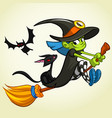 cartoon girl witch vector image vector image