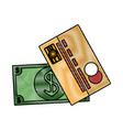 cash and credit card vector image vector image