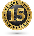 celebrating 15th anniversary gold label vector image