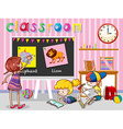 Children reading and painting in classroom vector image vector image