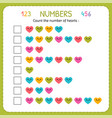 count the number of hearts worksheet for vector image