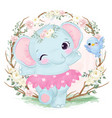 cute baby elephant dancing vector image vector image